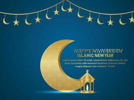 Islamic new year islamic festival greeting card with pattern gold moon and lantern vector