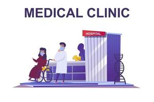 Medical clinic web concept in flat style vector