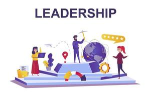 Leadership web concept in flat style vector
