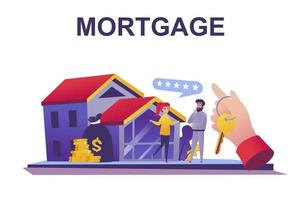 Mortgage loan web concept in flat style vector