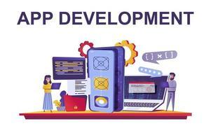 App development web concept in flat style vector
