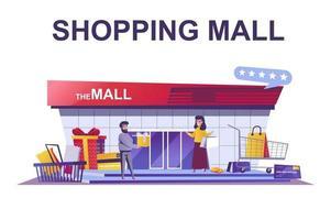 concepto de web de centro comercial en estilo plano vector