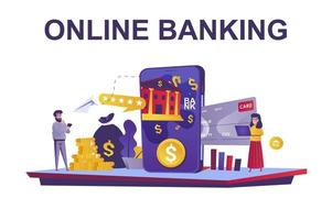 Online banking web concept in flat style vector