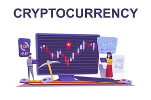 Cryptocurrency and finance web concept in flat style vector
