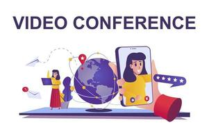 Video conference web concept in flat style vector