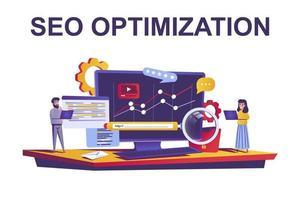 concepto web de optimización seo en estilo plano vector