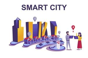 Smart city web concept in flat style vector