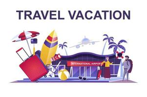 Travel vacation web concept in flat style vector