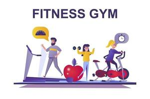 Fitness gym web concept in flat style vector