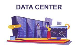 Data center web concept in flat style vector