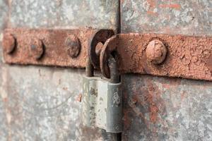 Old lock on an iron door photo