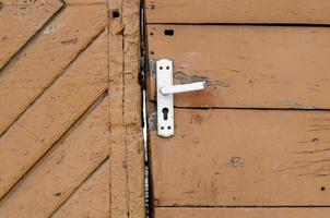 Vintage wooden door close up photo