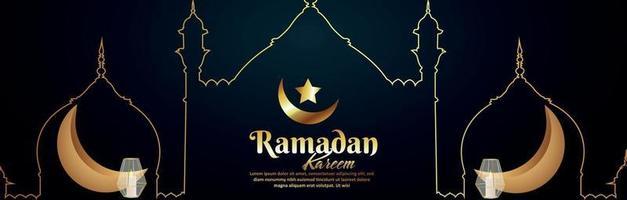 Islamic festival ramadan kareem with golden moon and lantern vector