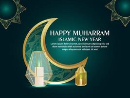 Happy muharram islamic new year greeting card with pattern moon and golden lantern vector