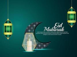 Eid mubarak islamic festival greeting card with pattern moon and lantern vector