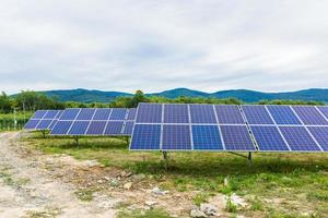 Solar power plant on a background of sky photo