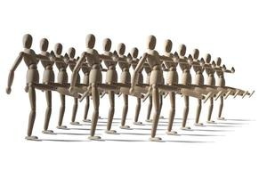 Attack of wooden dummies wooden robots march in military ranks photo
