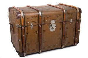 Antique Tin Travel Trunk Steamer Chest closed isolated on white background photo