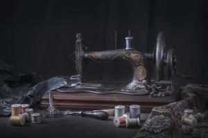 The sewing machine and accessories photo