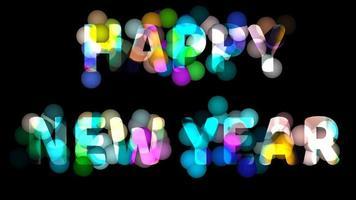 feliz año nuevo texto arco iris bola de luz movimiento video