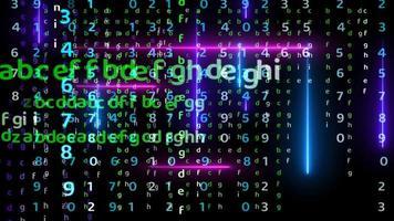 matrice di alfabeto arcobaleno verticale e orizzontale con effetto di luce astratta laser blu e viola magenta che cade sullo schermo nero video