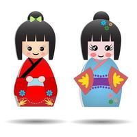 Set of cute Japanese Kokeshi Dolls, Kawaii asian design vector