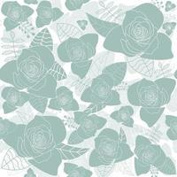 rosa flores siluetas azul pastel de patrones sin fisuras vector