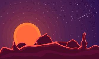 Abstract contemporary aesthetic landscape with sun, mountains. Mars planet tones vector