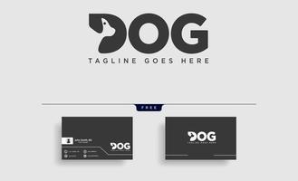 letter D dog pet animal line art style logo template vector icon element isolated