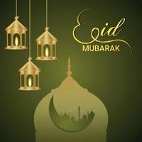 Eid mubarak islamic festival celebration greeting card with golden lantern vector