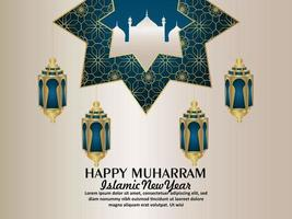 Realistic happy muharram vector illustration with pattern background