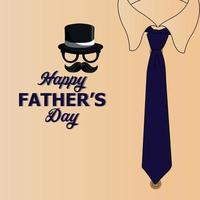 Happy fathers day vector design concept with mostache and hat