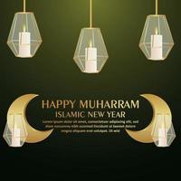Happy muharram islamic new year with crystal lantern and golden moon vector