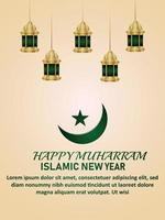 Happy new year islamic new year with pattern gold islamic lantern and moon vector