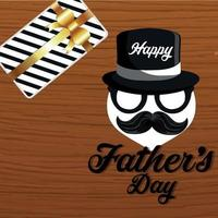 Fathers day vector illustration on wooden background
