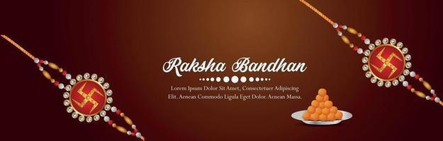Happy raksha bandhan invitation banner with creative rakhi vector