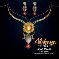 Akshaya tritiya sale background with gold necklace vector
