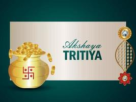 Akshaya tritiya vector illustration with gold coin with gold earrings