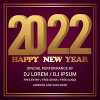 Happy new year 2022 greeting card vector