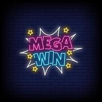 Mega Win Neon Signs Style Text Vector