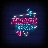 Arcade Zone Neon Signs Style Text Vector