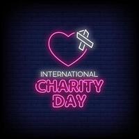 día internacional de la caridad letreros de neón estilo vector de texto