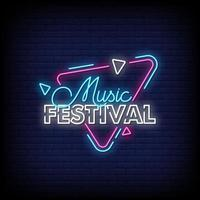 Music Festival Neon Signs Style Text Vector