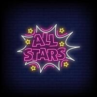 todas las estrellas letreros de neón estilo vector de texto