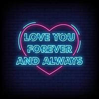 Love You Forever Neon Signs Style Text Vector