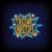 Big Win Neon Signs Style Text Vector