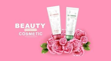 Beauty cosmetic product with rose and pink background vector
