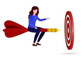 Illustration of a businessman pursuing a target vector