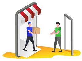 Couriers deliver goods to customers vector