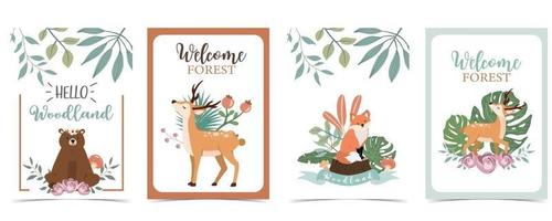 Collection of woodland background set with animal vector